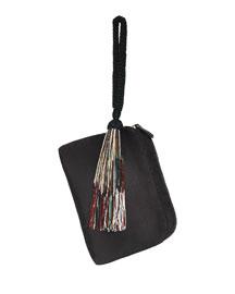 Satin Wristlet Bag w/Beaded Tassel, Black