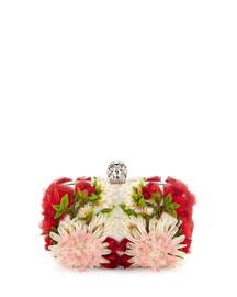 Exploded Flowers Skull Clutch Bag, White Pattern