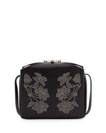 Studded Leather Box Bag, Black