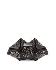 De-Manta Embellished Leather Clutch Bag, Black