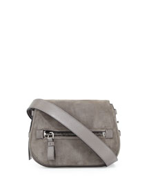 Jennifer Medium Suede Saddle Bag, Gray