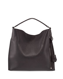 Alix Small Leather Hobo Bag, Black