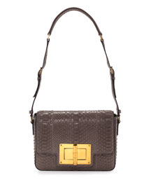 Natalia New Medium Day Python Shoulder Bag, Gray
