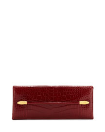 East-West Alligator Clutch Bag, Red