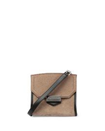 Marion Embossed Leather Shoulder Bag, Taupe