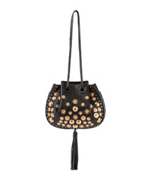 Inez Small Leather Drawstring Bag, Black