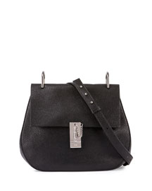 Drew Medium Grain Leather Shoulder Bag, Black