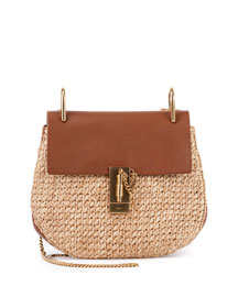 Drew Small Raffia Saddle Bag, Natural