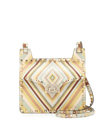Rockstud Geometric Striped Shoulder Bag, Multi