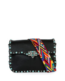 Rockstud Turquoise-Stud Saddle Bag w/Embroidered Strap