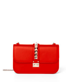 Medium Rockstud Leather Shoulder Bag