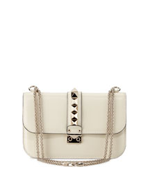Medium Rockstud Flap-Top Shoulder Bag, Ivory