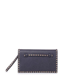 Rockstud Vitello Leather Clutch Bag, Deep Denim