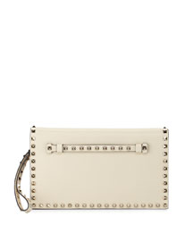 Rockstud Leather Wristlet Clutch Bag