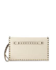 Rockstud Leather Wristlet Clutch Bag