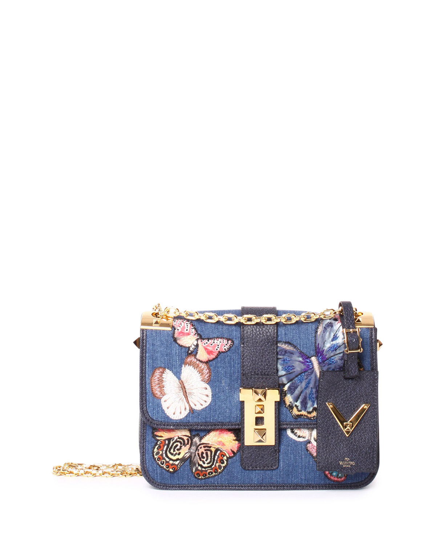 Valentino Rockstud Butterfly-Embroidered Crossbody Bag, Denim, Denim Butterfly