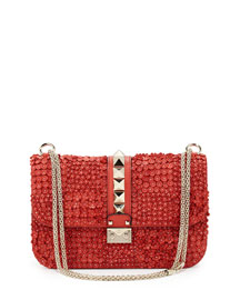 Floral-Applique Rockstud Shoulder Bag, Deep Coral