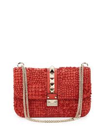 Floral-Applique Rockstud Shoulder Bag, Deep Coral