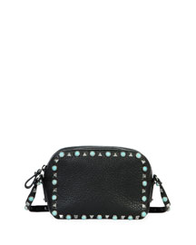 Rockstud Turquoise-Studded Crossbody Bag, Black