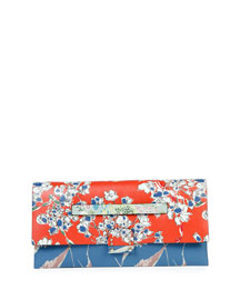 Mime Floral-Print Leather Clutch Bag, Multi