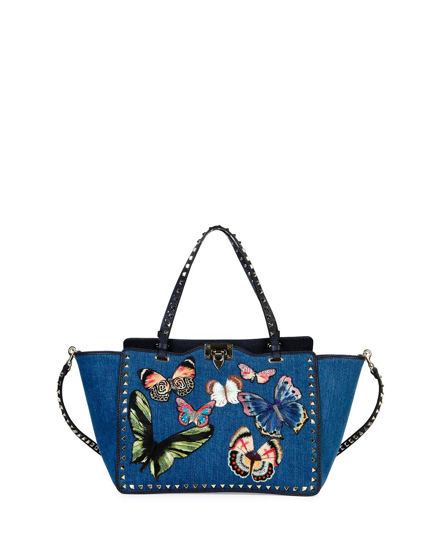 Valentino Butterfly Rockstud Denim Tote Bag, Light Denim/Multi