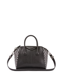 Antigona Woven Leather Satchel Bag, Black/White