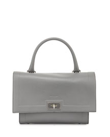 Shark Small Waxy-Leather Satchel Bag, Pearl Gray