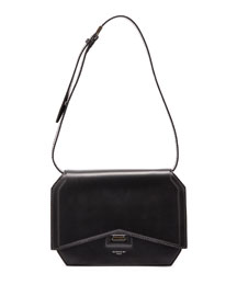 Bow-Cut Leather Shoulder Bag