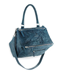 Pandora Medium Leather Satchel Bag, Mineral Blue