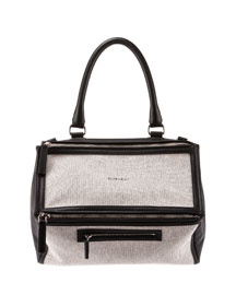 Pandora Medium Canvas & Leather Bag, Black