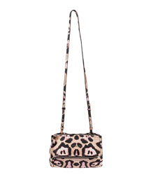 Pandora Jaguar-Print Leather Crossbody Bag, Pink Multi