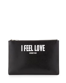 Iconic Prints I Feel Love Leather Clutch Bag, Multi