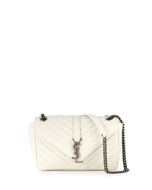 Monogram Small Leather Flap Shoulder Bag, White Gray (Blanc Grise)