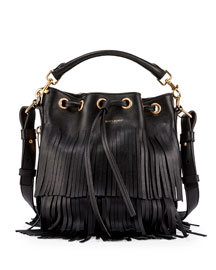 Emmanuelle Tiered Fringe Bucket Bag, Black (Noir)