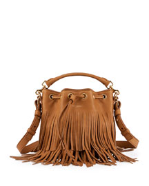 Emmanuelle Small Suede Fringe Bucket Bag