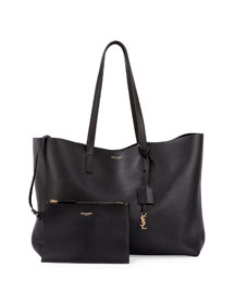 Large Shopping Tote Bag w/ Painted Edges, Black (Noir)