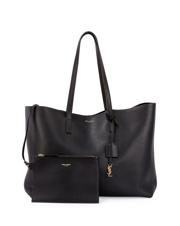 Saint Laurent Large Shopping Tote Bag w/ Painted Edges, Black (Noir), Noir + Noir