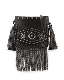 Helena Monogram Studded Fringe Bucket Bag, Black