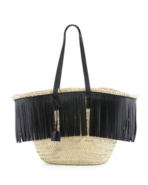 Panier Large Basket Tresse Tote Bag, Naturel/Noir