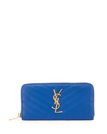 Monogram Matelasse Zip Wallet, Bleu Majorelle