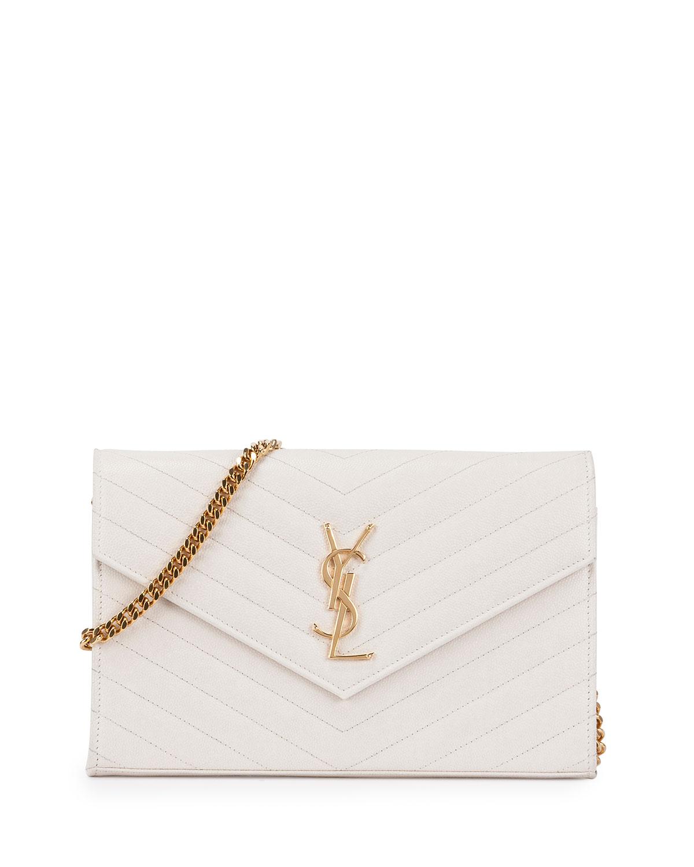 Saint Laurent Monogram Matelasse Wallet-On-A-Chain Bag, White (Blanc Grise)