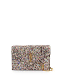 Monogram Glittered Flap-Top Shoulder Bag, Multi/Black (Noir)