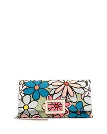 Ines Floral-Print Small Pochette Bag, Pistachio