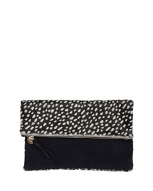Ladybug Calf-Hair Fold-Over Clutch Bag, Black