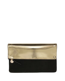 Metallic Fold-Over Clutch Bag, Gold/Black