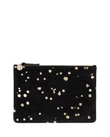 Metallic Splashed Leather Clutch Bag, Black