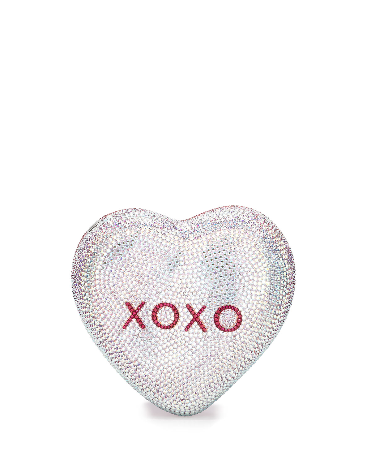 Hunter Be Mine Heart Crystal Minaudiere, Pink/Silver Rose, Pink (Silver Rose