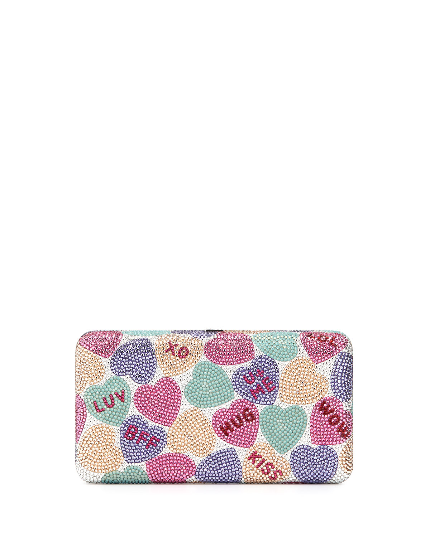 Hunter Candy Hearts Crystal Clutch Bag, Multi