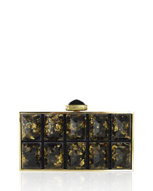 Perfect Rectangle Faceted Clutch Bag, Champagne/Black
