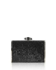 Tall Slender Herringbone Crystal Clutch Bag